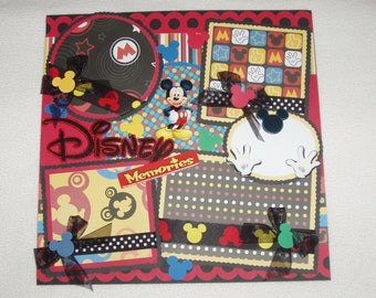 Disney Mickey Mouse Minnie Donald Goofy Pluto Memories 12x12 Premade Scrapbook Page by KARI