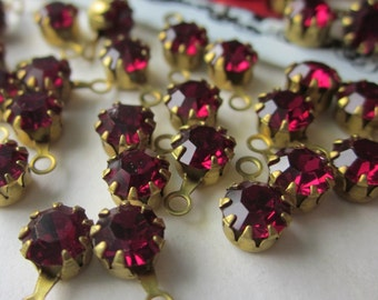 Vintage Swarovski  Ruby Crystal With Hoop