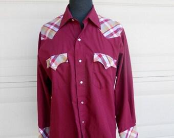 Vintage Western Pearl Snap Shirt . 1970s Burgundy Plaid Shirt S-M