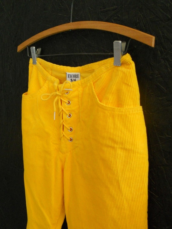 70s Lace Up Pants / High Waisted Bright Yellow Corduroys