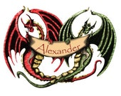 Personalized Dragon Name Banner Wall Decal for Boys Room (stk1038)