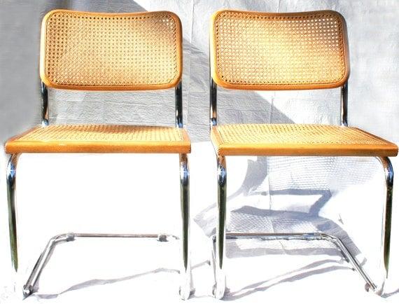 Vintage Mid Century Modern Chrome Amp Wood Marcel Breuer Cesca