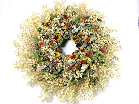"""Dried Floral Wreath """"Autumn Splendor"""",  Fall Wreaths,  Autumn Decor, Wreaths"""