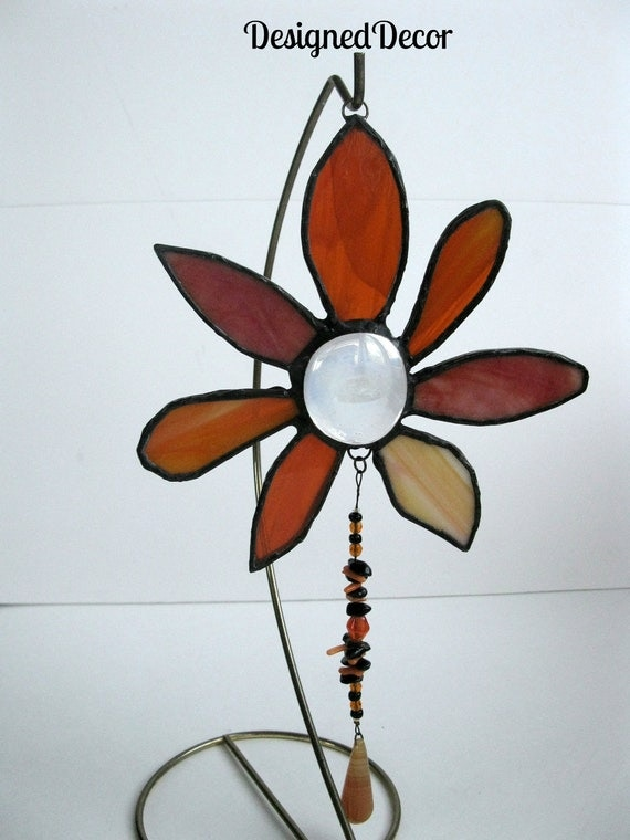 Stained Glass Orange Flower Sun catcher