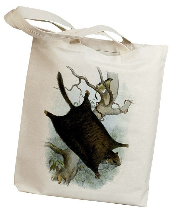 Black Flying Squirrel Vintage Eco Friendly Canvas Tote Bag (id0153)