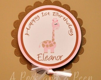 Pink and Brown Giraffe Birthday or Shower Centerpiece Stake Cake Topper