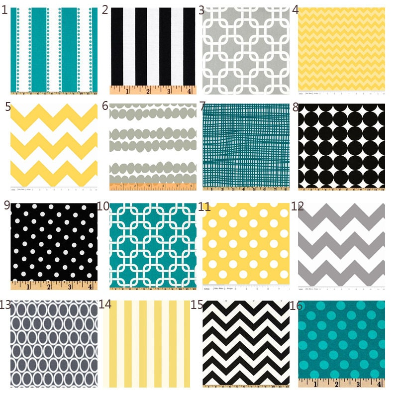 items similar to custom crib bedding yellow black turquoise and grey baby bedding on etsy. Black Bedroom Furniture Sets. Home Design Ideas