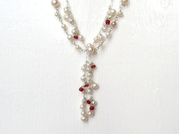 Lush Fall Pearl and Ruby Necklace Set : Pearl Bridal Jewelry, Pearl Wedding Jewelry, Unique Handmade Layering Necklaces, OOAK Necklace
