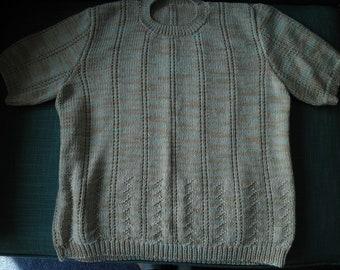 Immaculate handknit vintage cotton short sleeve sweater beige aqua white L