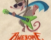Awsome Possum rock star embroidered feeding bib.