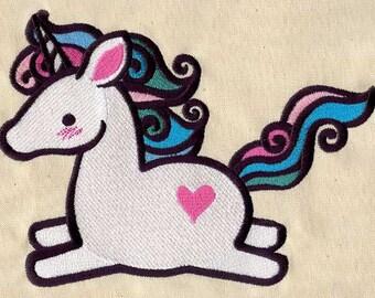 Baby Unicorn embroidered feeding bib
