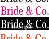 8 iron on Bachelorette Bride & Co. wedding shirt decal transfers
