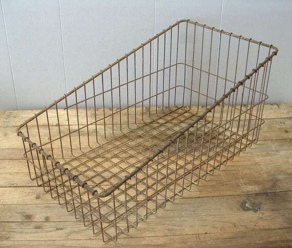 Rusty Old Machine Age Industrial Factory Metal Wire Storage Basket