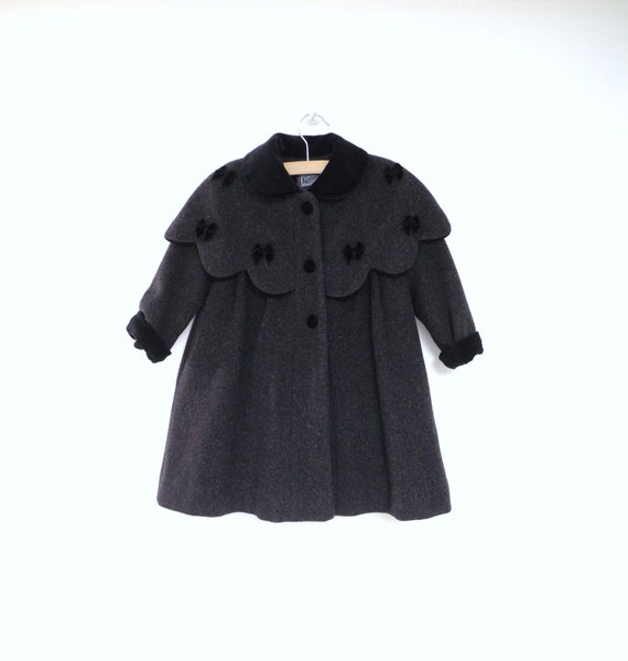 1980's Rothschild Charcoal Gray and Black Velvet Wool Coat