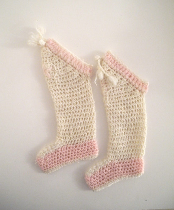 1920's Hand Knit Pink and Cream Stockings