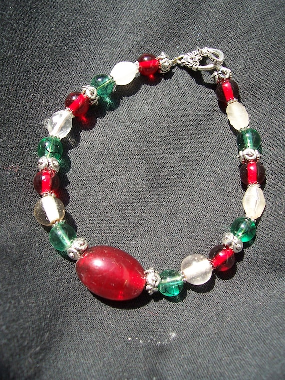 Handmade Glass Bead Bracelet Featuring Festive Holiday Colors-- Sale Price