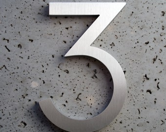 "Modern House Numbers  Aluminum Modern Font Number Three ""3"""