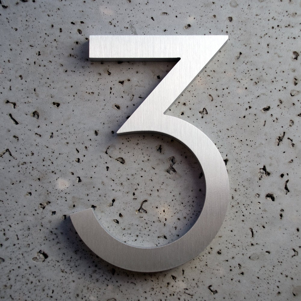 Modern house numbers aluminum modern font number three for Modern house numbers canada