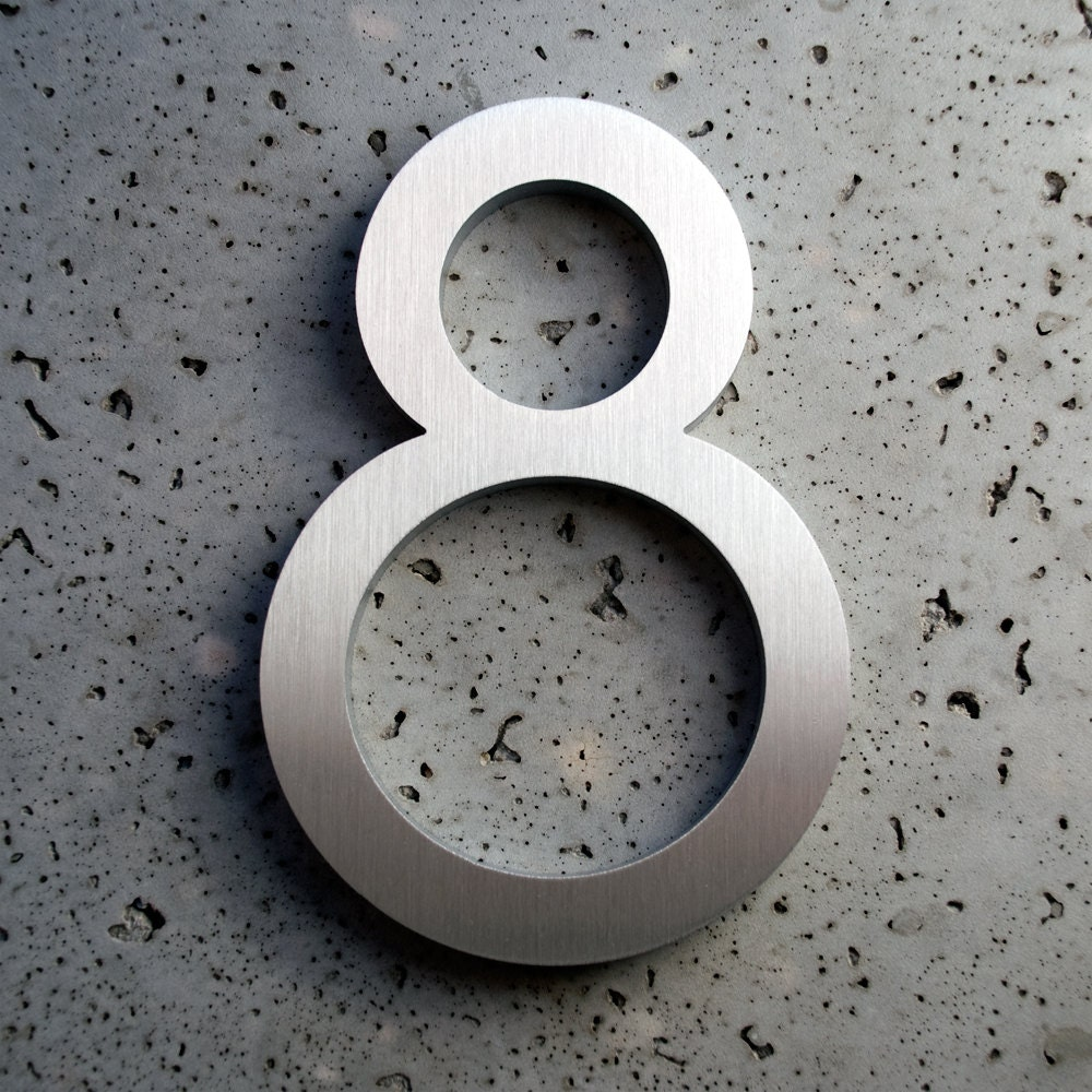 modern house numbers aluminum modern font number eight 8 On modern 8 house numbers