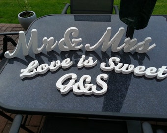 Wooden Wedding Table Decoration Package 4 - Mr & Mrs, Love is Sweet, Initials