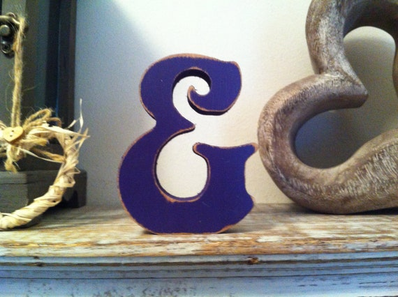 Freestanding Wooden Wedding Letter '&' - Distressed Finish - 20cm - Victorian Style Font