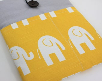 "Laptop Case, 13"" MacBook Case, 13"" MacBook Air Case, 13"" MacBook Pro Case, PADDED, with 2 pockets - Elephants (Yellow & white)"