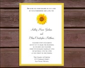 Sunflower Wedding Invitations, RSVP's, Reception Insert w/ FREE Calendar Stickers