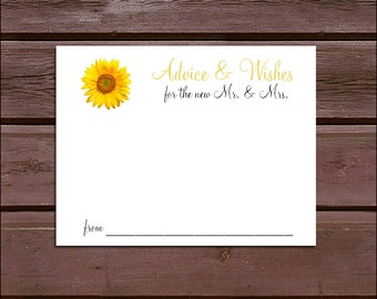 100 Sunflower Advice and Wishes.  Wedding Favors