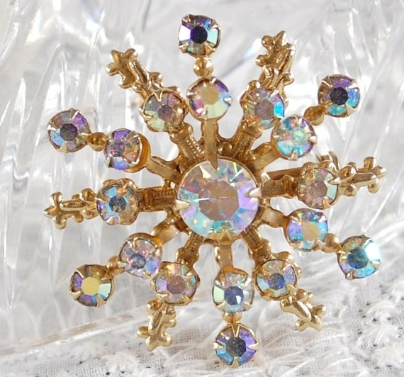 Vintage Rhinestone Brooch / Pin, Aurora Borealis Crystal, Snowflake Starburst, Gold Fluer De Lis, 1950s 1960s Mad Men Wedding Bridal Jewelry