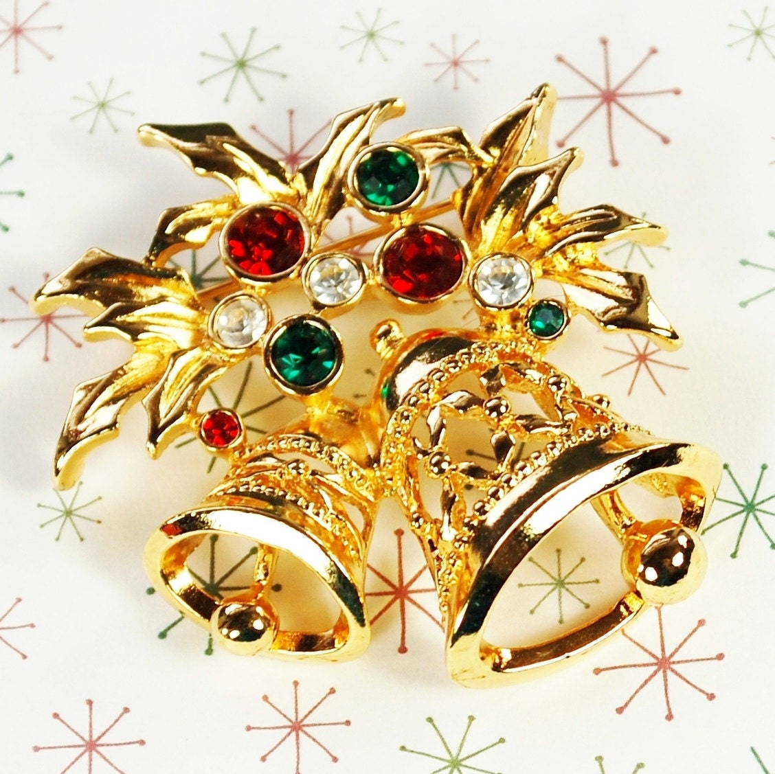 Vintage Christmas Brooch / Pin Gold Bells Holly Leaves Red