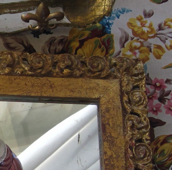Ornate Filigree Detail Hollywood Regency Rocco Style Wood & Gesso Gilded Frame Mirror