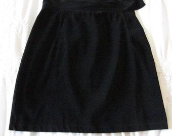 Black Velvet Skirt, Vintage Velvet Skirt, Adjustable waist, Vintage Black Mini Skirt, Classic Skirt, Dress Skirt, Modern Romance