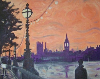 Thames Big Ben textured oil painting from photo