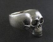 Skull Ring - Oxidized Sterling Silver Human Skull Ring - The Lost Apostle Skull Ring