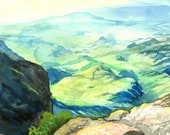 original watercolor painting, landscape painting of Big Bend national park