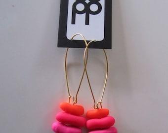 fluoro neon pink, deep neon orange and mid neon orange polymer fashion earrings