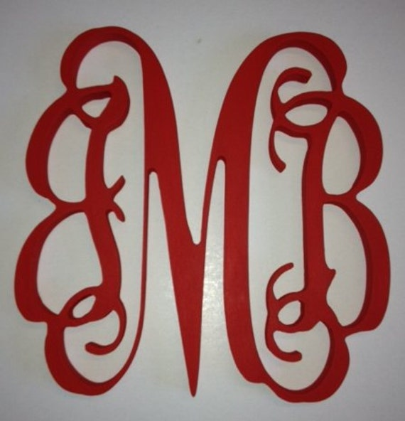 SALE!!  18 inch PAINTED Vine connected monogram letters - hand painted