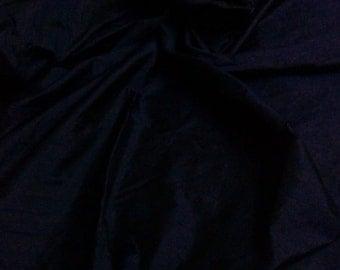 One yard of  Navy blue 100 percent pure dupioni silk