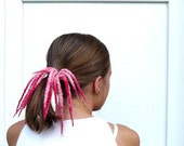 Raspberry Pink  Dreads Ponytail Holder Falls - Pure Wool - back to school