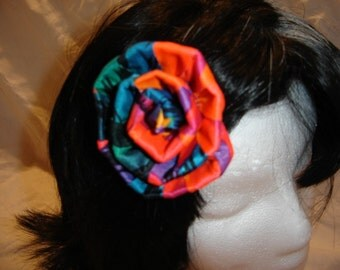 cloth handmade rose barette 80s colors neon spandex rainbow hair barrette
