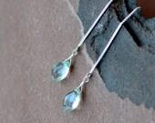 Threader Earrings, Prasiolite Green Amethyst, Sterling Silver Chain