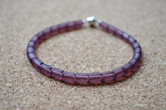 Glass Bracelet, Rustic Recycled Glass Beads, Purple, Magnetic Clasp