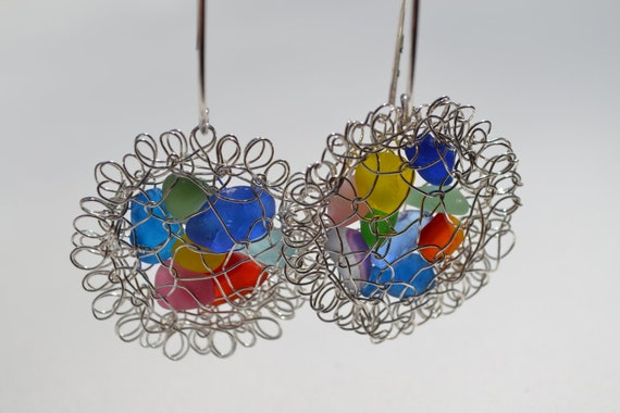 Earrings  Rainbow Genuine Sea Glass Hand Knitted Fine Silver Wire Pods