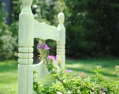 Wood Vintage Ladder Back Chair. Yellow. Painted. Garden.