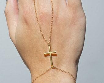 Slave Bracelet 18k Gold Cross Hand Chain Ring Bracelet
