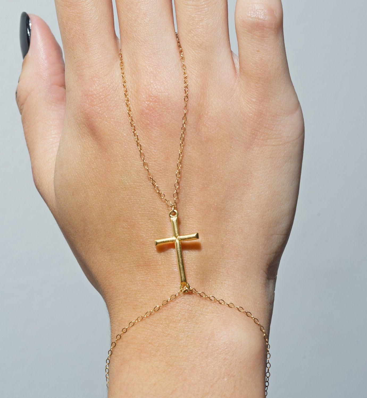 Ring Bracelet Chain: Slave Bracelet 18k Gold Cross Hand Chain Ring By
