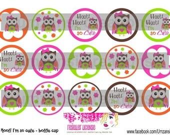 "15 Hoot Hoot I'm so Cute Digital Download for 1"" Bottle Caps (4x6)"
