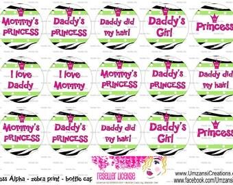 "15 Princess Alpha Zebra Cute Sayings Digital Download for 1"" Bottle Caps (4x6)"
