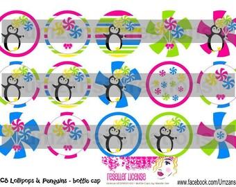 "15 M2M Lollipops & Penguins Digital Download for 1"" Bottle Caps (4x6)"