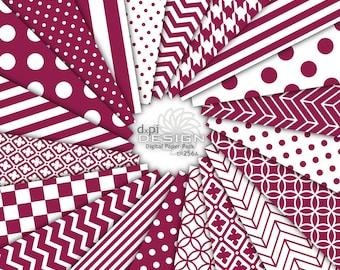 RHUBARB - Digital Paper and Printable Background Patterns - Red Violet Burgundy Scrapbook Paper - Instant Download (DP256A)